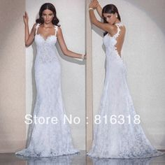 Online Shop Vestido De Noiva Free Shipping Mermaid Open Back Lace Wedding Dresses Sexy Backless Wedding Dress 2014 Vestido De Casamento|Aliexpress Mobile