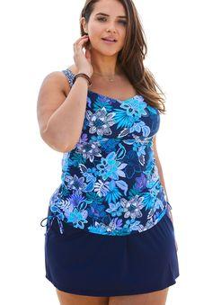 Empire Seam Tankini Top - Women's Plus Size Clothing