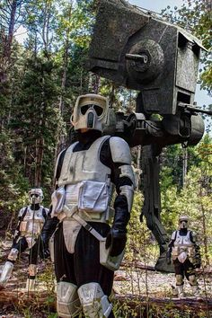 Some Scout troopers on a patrol in an Endor forest.