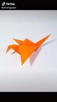 Origami Bird Easy, Easy Origami Dragon, Origami Koi Fish, Easy Origami Animals, Origami Simple, Basic Origami, Origami Birds, Origami Toys, Instruções Origami