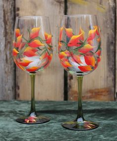 Hand Painted Fall Wine Glasses Set of 2  on by SilkEleganceFlorals