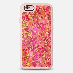 Hot Pink and Gold Baroque Floral Pattern