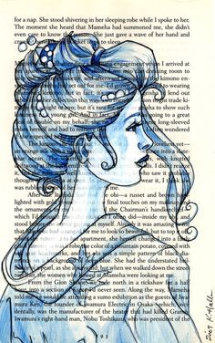 Geisha - water color and pen doodle on a book page background - pretty shades of blue