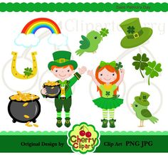 Saint Patrick's Day Digital Clipart Set for-Personal and Commercial Use-paper crafts,card making,scrapbooking,and web design