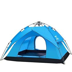 Introducing Portable Camping Tent Waterproof Oceanheart 4 Persons Tent Double Spring Tent Automatic Pop Up Down Backpacking Tents Large space Strong Breathability AntiUV Windproof  Blue. Great product and follow us for more updates!
