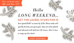 President's Day Weekend Special Offer: Get the Laurel Earrings for 5 bucks!