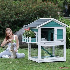 Designs and Functions: 1. Treated with WATER-BASED paint which is safer for your pet. Big entrance allows bunny or small dog run in and out. Ideal condo for pet. Asphalt roof prevents rain from getting in your pets' house, which can keep inside dry. | eBay!