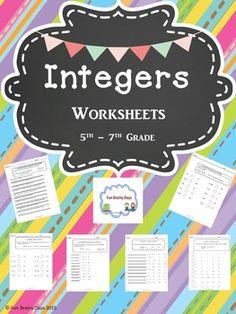 Integers worksheets  $5.00