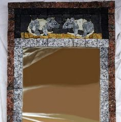 stone mirror with cat and mouses:) size 63x30cm