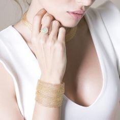 14k Gold Layered Multi Strand Cuff | YooLa