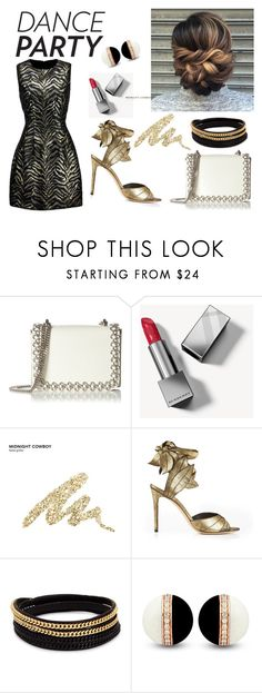 """""""Dance party"""" by behijadedic ❤ liked on Polyvore featuring Kaviar Gauche, Burberry, Urban Decay, Vivienne Westwood, Vita Fede, Roberto Cavalli, gold, redlipstick, whitebag and danceparty"""