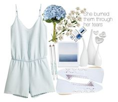 A fashion look from July 2015 featuring short rompers, slip-on shoes and white vase. Obsessive Compulsive Cosmetics, Mitchell Gold, Wet Seal, Crate, Barrel, Netflix, Bob, Rompers, Polyvore