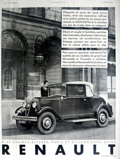 Vintage advertisement from #L'Illustration, 1931 featuring the French car RENAULT.
