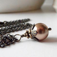 Brown Bridesmaid Jewelry Mocha Pearl Dangle by FiveLittleGems, $14.00