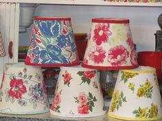 Lampshades covered with vintage tablecloths