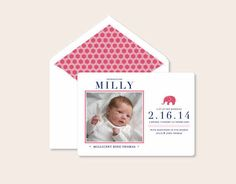 A sweet pink elephant makes this darling letterpress baby announcement so perfect. Postscriptpaper.com  nnhttp://www.etsy.com/listing/177784450/letterpress-birth-announcements