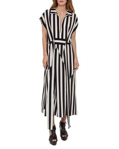 Striped Zip-Front Shirtdress, Black/White
