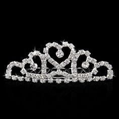 Heart Rhinestone Diamante Bridal Crown Hair Comb Tuck Comb for Party Prom #3    eBay