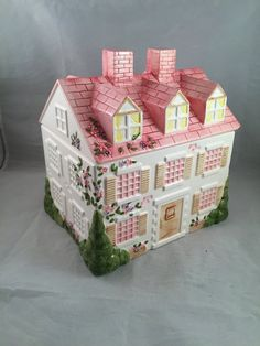 Vintage Victorian House Cookie Jar Pink by ThumbBuddyWithLove