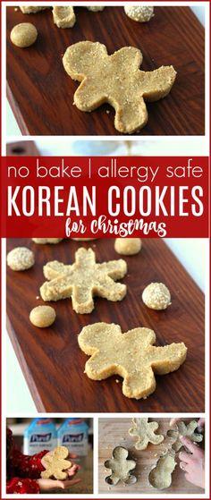 No Bake Korean Cookies with a Christmas Twist - Raising Whasians Dairy Free Cookies, Gluten Free Cookie Recipes, Delicious Cookie Recipes, Dessert Recipes, Bar Recipes, Free Recipes, Homemade Cookies, Yummy Cookies, Cake Cookies