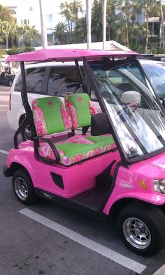 is what I want when I retire - a Delta Zeta themed golf cart!This is what I want when I retire - a Delta Zeta themed golf cart! Pink Love, Pretty In Pink, Pink And Green, Hot Pink, Perfect Pink, Neon Green, Color Magenta, Color Rosa, Total Sorority Move