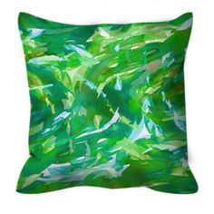 MOTLEY FLOW 4 Watercolor Lime Kelly Green Aqua Turquoise Swirls Abstract 18 x 18…