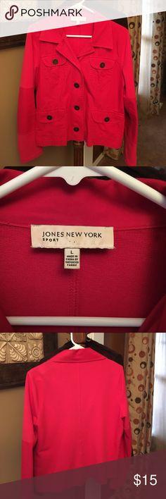 Red Jones New York Blazer Super comfy, red blazer in great condition.  Combo red denim and sweat shirt fabric make it comfortable and flattering. Jones New York Jackets & Coats Blazers