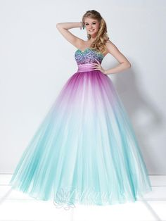 2014 Popular A-line Sweetheart Strapless Sequined Purple/turquoise Quinceanera Dress Tiffany Design 16897