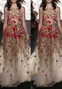 Beige Floral Zipper Grenadine Embroidery Bohemian Maxi Dress