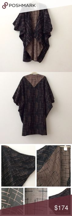 """🌺NEW LISTING NWT De La Mer Cocoon Cape/Jacket 🌺 New w/tags. Never worn. Beautiful & elegant print cape from De La Mer in black/chocolate. One size. Imported Fabric (feels like a cotton blend although not sure). It measures about 42"""" from back running down center.   Great piece to add to your wardrobe!   Can share more photos.   Open to offers.   Thank you. De La Mer 1981 Jackets & Coats Capes"""