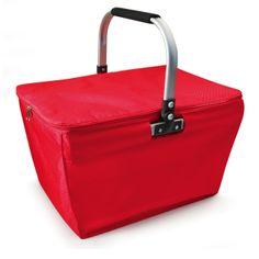 Cistella termoinsulada color vermell. Interior de material tèrmic, lleugera i plegable amb ansa d'alumini. Plegada ocupa només 7 cm d'alt i té una capacitat de 20 litres. Suporta un pes màxim de 15 kg. Molt pràctica per portar al mercat, a la platja o d'excursió