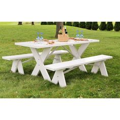 Dura-Trel 6 ft. White Vinyl Table with Unattached Plastic Outdoor Patio Bench