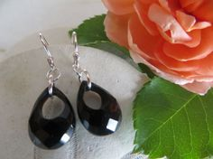 Faceted black onyx earrings Onyx faceted teardrops by Inspiredby10