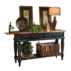 2-drawer New Zealand pine wood sideboard with a pull-out tray and open bottom shelf.