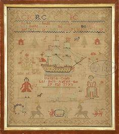 "English schoolgirl sampler by ""Isabala Coats, born August the 29 day 1773"""