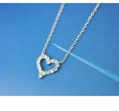 Ngọt ngào và thanh lịch 925 sterling bạc vòng cổ trái tim Micro Pave CZ Phụ kiện Nhật Bản và Hàn Quốc một phần ngắn của xương đòn nữ mùa hè hoang dã A3405- Trạm toàn cầu Taobao