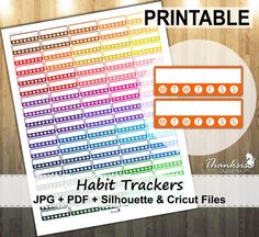 50% Sale, Habit Trackers Printable Planner Stickers, Erin Condren Planner Stickers, Habit Trackers Printable Stickers, Habit - CUT FILES
