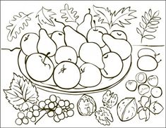 Free Coloring Pages: Autumn fruits * Coloring page * Desene de colorat cu toamna Fruit Coloring Pages, Coloring Sheets, Coloring Books, Free Coloring, Alphabet Coloring, Fall Arts And Crafts, Autumn Activities, Colorful Pictures, Easy Drawings