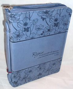 Brand New Blue Large Bible Cover - Rejoice Psalm 100:2 NWT http://www.membranachristianbooks.com/ or http://stores.ebay.com/MEMBRANA-CHRISTIAN-BOOKS