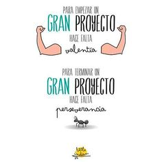 To start a big project u need to be brave. To finish the big project you to persevere Motivational Quotes, Inspirational Quotes, Quotes En Espanol, Postive Quotes, More Than Words, Spanish Quotes, Positive Vibes, Sentences, Wise Words