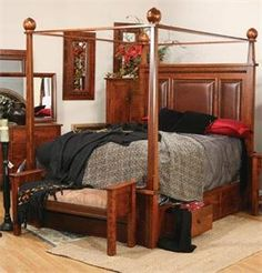 Amish Pittsburg Bed with Canopy and Storage Drawers