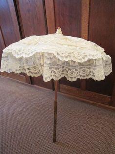 Pale Cream Lace & Silk Satin Parasol ca 1890s