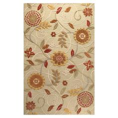 Hand-tufted wool rug with a floral motif.    Product: RugConstruction Material: 100% WoolColor: L...