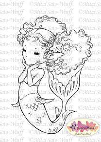 Happy Little Mermaid Digital Stamp by Aurora Wings