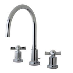 Kingston Brass bathroom widespread faucet in polished chrome