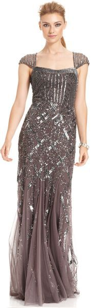 Capsleeve Sequined Beaded Gown - Lyst