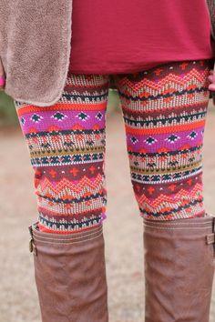 Printed Leggings: Magenta