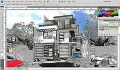 FotoSketcher and Photoshop to watercolor effect render SketchUp model tutorial