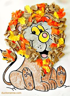 Lion craft is simple to make! All you need is a coloring page, colored tissue paper and gluestick. Letter L Crafts, K Crafts, Alphabet Crafts, Bible Crafts, Fall Crafts, Christmas Crafts, Preschool Projects, Preschool Letters, Preschool Crafts