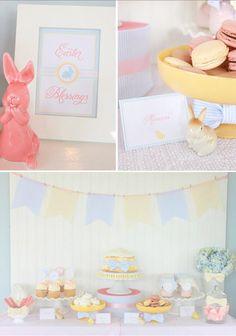 Seersucker & Bow Tie Easter Party or baby shower idea via Kara's Party Ideas karaspartyideas.com